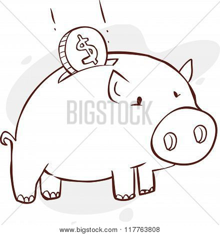 Vector Illustration Of A Piggy Bank Black And White