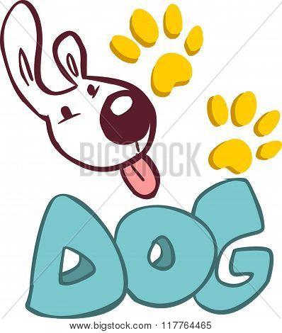 White Background Vector Illustration Of A Dog Logo