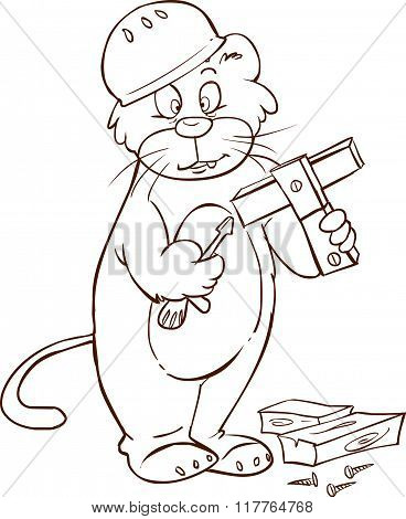 White Background Vector Illustration Of A Cute Carpenter Cat