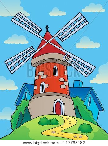 Hill with windmill theme 1 - eps10 vector illustration.