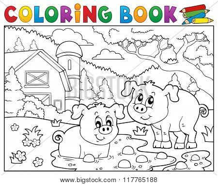 Coloring book two pigs near farm - eps10 vector illustration.