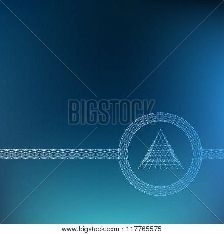 Mesh polygonal background. Scope of lines and dots. triangle of the lines connected to points. Molec