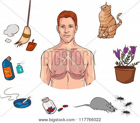 Vector Illustration Of A  Medical Causes Of Allergies