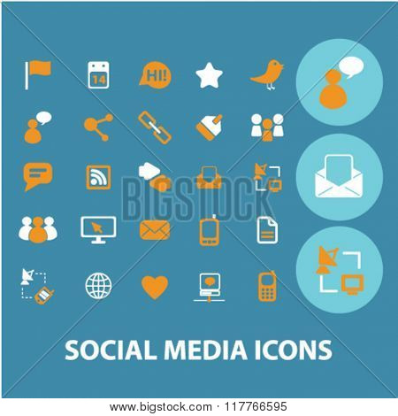 Social media icons, social community concept, blog icon, social media logo, community, social concept, social network, user, avatar icons, signs vector concept set