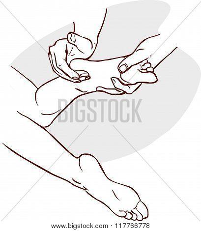 Vector Illustration Of Aphysiotherapist Doing Reflexology On A Patient Feet