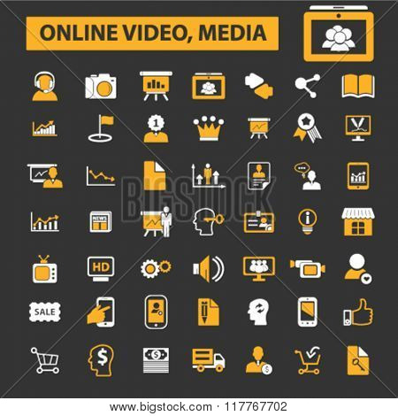 online marketing, digital advertising, marketing research, marketing plan, video, image, brainstorm icons