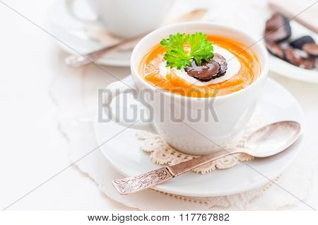 Cream Carrot And Truffle Soup In A Cup