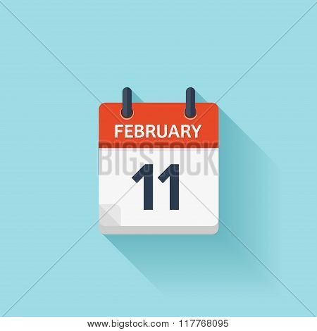 February 11. Vector flat daily calendar icon. Date and time, day, month. Holiday.
