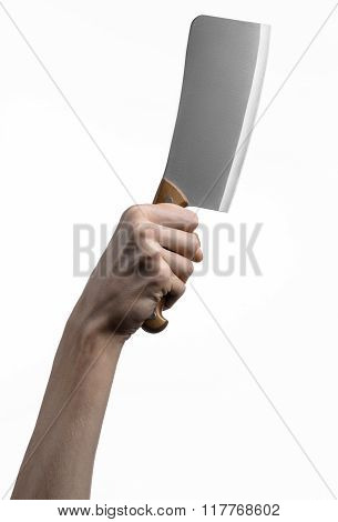 Hand Holding A Knife For Meat, Cleaver, Chef Holding A Knife, A Large Knife, Kitchen Knife, Kitchen