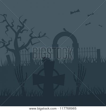 Zombies night vector background. Zombie hands, zombie silhouettes, halloween background. Zombie scary night background illustration
