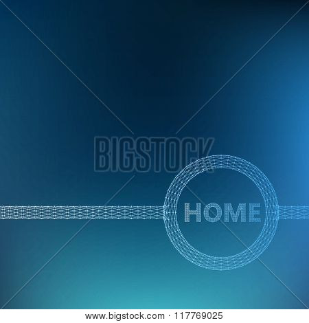 The inscription - Home. Molecular lattice. Structural mesh of polygons on a white background. Polygo