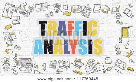 Traffic Analysis Concept. Multicolor on White Brickwall.