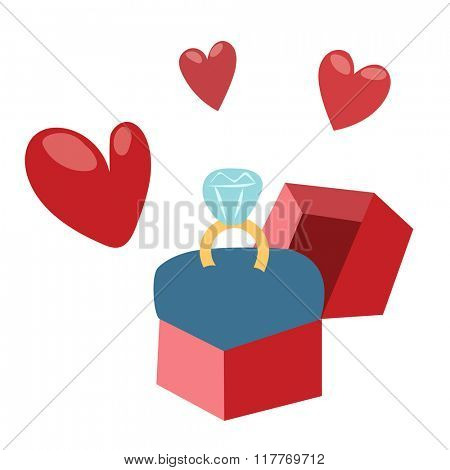 Valentines wedding ring and hearts greeting card element design. Valentine Day or Wedding Day design with heart. Greeting card vector illustration.