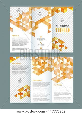 Creative Two Page Business Trifold Brochure, Template or Flyer design with space to add images.