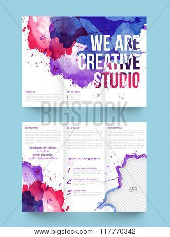 Colorful splash decorated, Two Page Trifold Brochure, Template or Flyer presentation with space to add your images for Business concept.