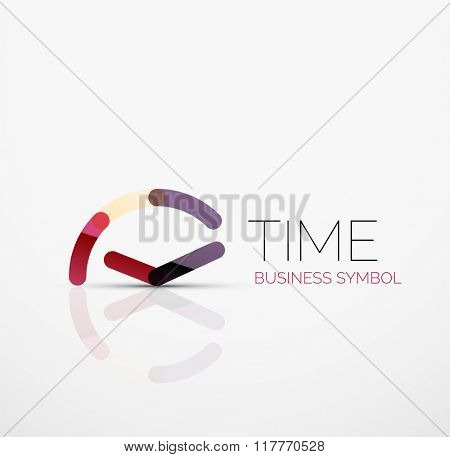 Vector abstract logo idea, time concept or clock business icon. Creative logotype design template