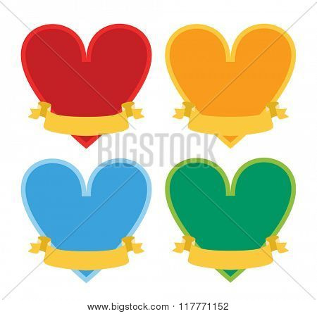 Valentines heart icons element design. Valentine Day or Wedding Day design with heart. Greeting card vector illustration.