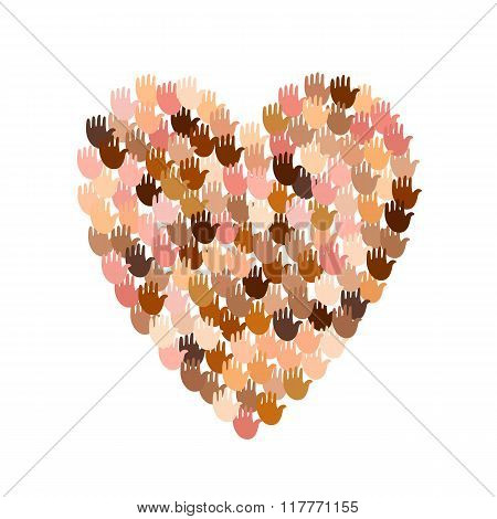 Illustration of big heart shape filled with hands