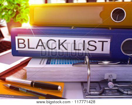 Blue Ring Binder with Inscription Black List