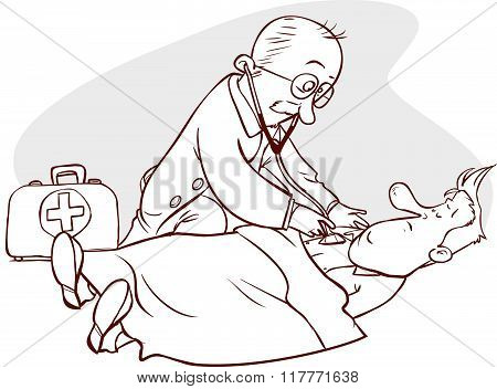 Vector Illustration Of A Doctor And Patient Examination