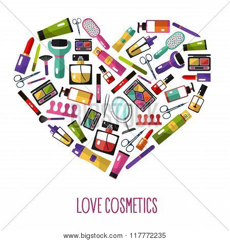Love cosmetics concept