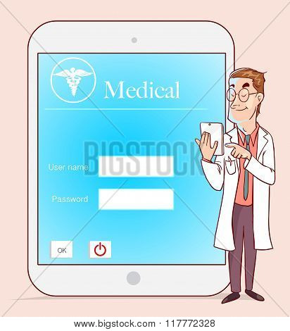 Medicine Doctor Working With Modern Tablet Computer And Virtual Interface As Medical Concept