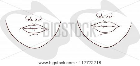 Blue Backround Vector Illustration Of A Lip Filler