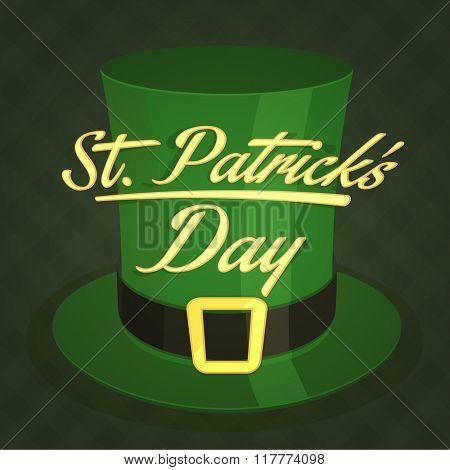 Creative glossy Leprechaun Hat for Happy St. Patrick's Day celebration.