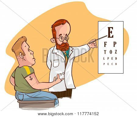 White Backround Vector Illustration Of A Ophthalmologist