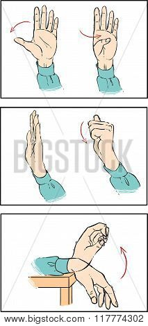 White Bacround Vector Illustration Of A Hand Exercise