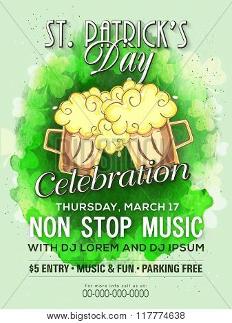 Creative Pamphlet, Banner or Flyer design for St. Patrick's Day Musical Party celebration.
