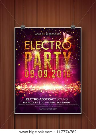 Creative shiny Flyer, Banner or Template design with golden text Electro Party.