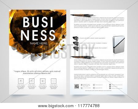 Two Page Professional Brochure, Template or Flyer design for your Business reports and presentation.