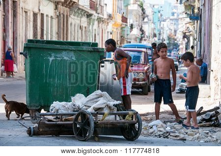 HAVANA CUBA 7 July 2012: The children play on the street with garbage