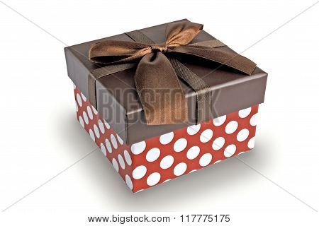 Box For A Gift On A White Background With A Shadow.
