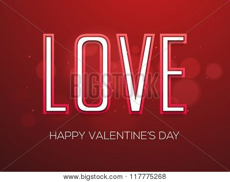 Stylish text Love on shiny red elegant background for Happy Valentine's Day celebration.