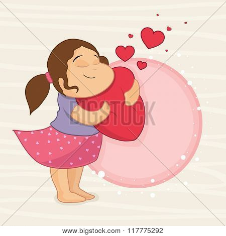Happy Valentine's Day celebration with cute smiling girl holding red heart and space for your wishes.