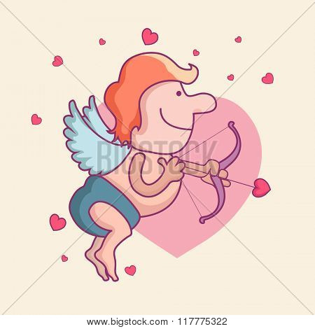 Funny cartoon of cupid holding bow and arrow on hearts decorated background for Happy Valentine's Day celebration.