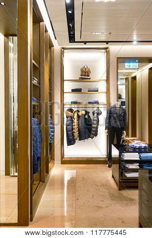 HONG KONG - JANUARY 26, 2016: interior of Burberry store. Burberry Group plc is a British luxury fashion house, distributing outerwear, fashion accessories, fragrances, sunglasses, and cosmetics.