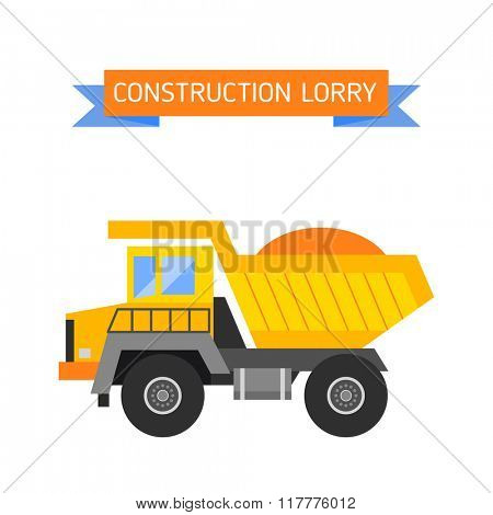 Building under construction tripper truck machine technics vector illustration. Building tripper truck machine. Tripper truck concept. Tripper truck vector isolated. Tripper truck vector icon isolated