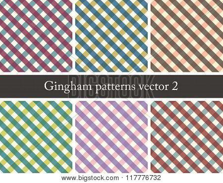 set of seamless gingham patterns