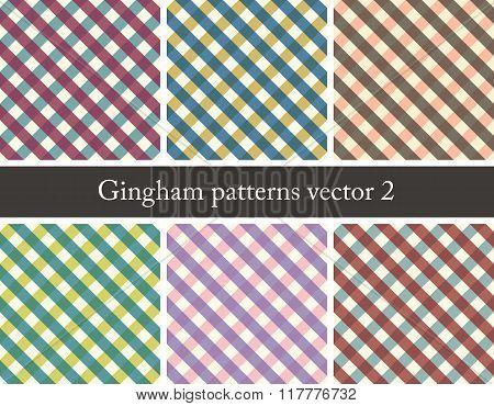 set of seamless gingham patterns