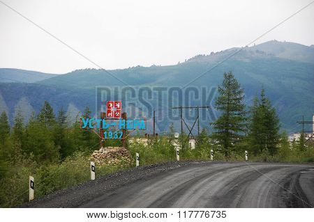 Ust-nera Town Entrance Memorial Sign Sakha Republic