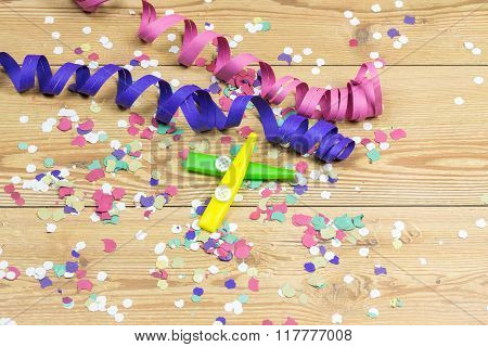 Confetti, Streamers And Party Whistle