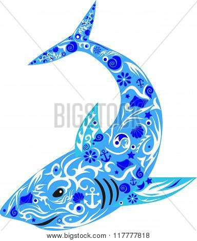 shark becoming blue, blue with a pattern