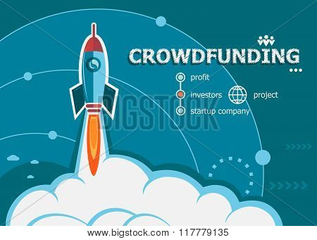 Crowdfunding Design And Concept Background With Rocket.