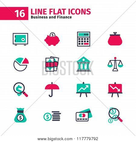 Business Icon Set In Flat Line Style