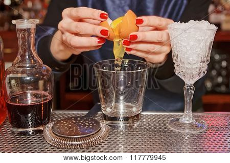 Bartender is adding egg white to the glass