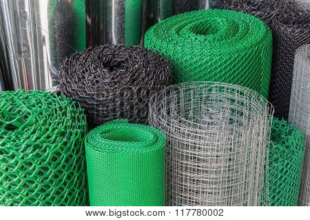 Rolls Of Plastice And Steel Wire Mesh