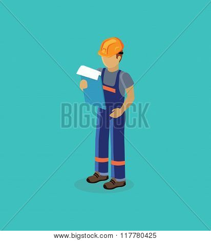 Character Manager Isometric Design Flat